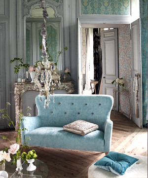 Modern fabric: Romantic French living room + duck egg velv… | Flickr