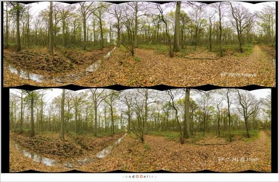 Een 360° panorama met de 15mm fisheye, en met 11mm brandpunt. Beide panorama's zijn gemaakt in Lightroom.