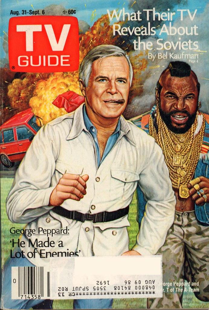 Retrospace  TV Guide  16  Aug 31 Sept 6  1985 This issue s glorious cover promises to be an outstanding edition    but   alas  it s just a lame article on George Peppard  and it s the summer