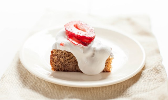 almond meal strawberry cake with coconut cloud cream