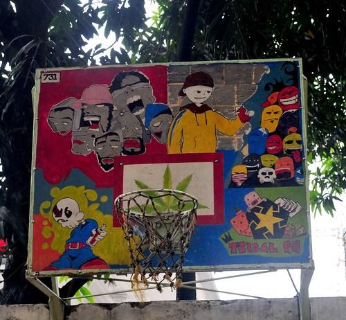 colorful painted basketball hoop