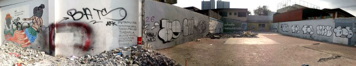 parking lot graffiti panorama