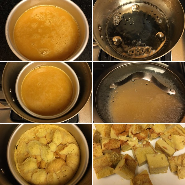 Step by step collage of steaming eggs for steamed egg curry