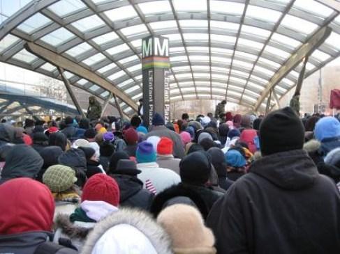 Metro on Day of President Barack Obama's Inauguration, 2009.