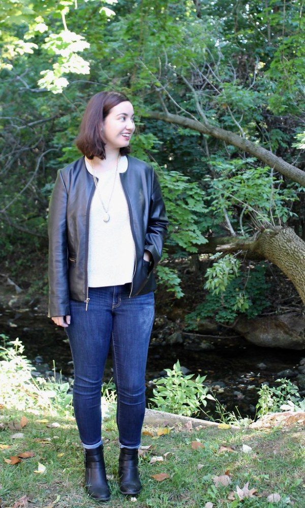 Leather Jacket, LOFT shell, skinny jeans, ankle boots | Shades of Sarah