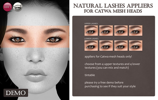 Natural Lashes Appliers for Catwa Mesh Heads (for FLF)