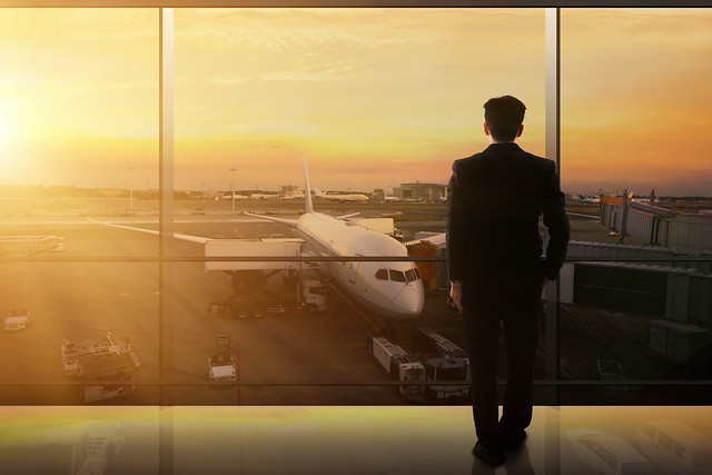 Businessman Waiting In An Airport