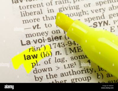 The Word Law Highlighted in Dictionary with Yellow Marker ...