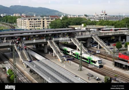 Transport interchange, Freiburg, Germany. (tram stop on bridge over main railway station.) Stock Photo