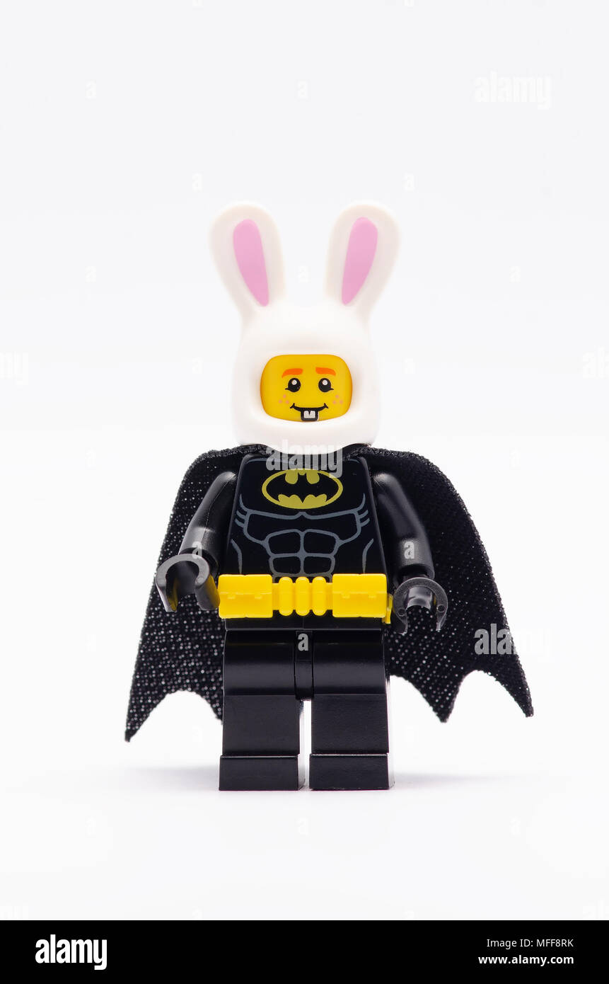 mini figure of batman wearing bunny helmet   Lego minifigures are     mini figure of batman wearing bunny helmet   Lego minifigures are  manufactured by The Lego Group