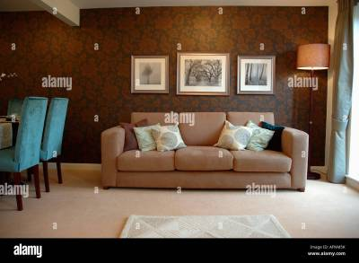 Modern apartment livingroom with patterned brown wallpaper and Stock Photo: 13990206 - Alamy