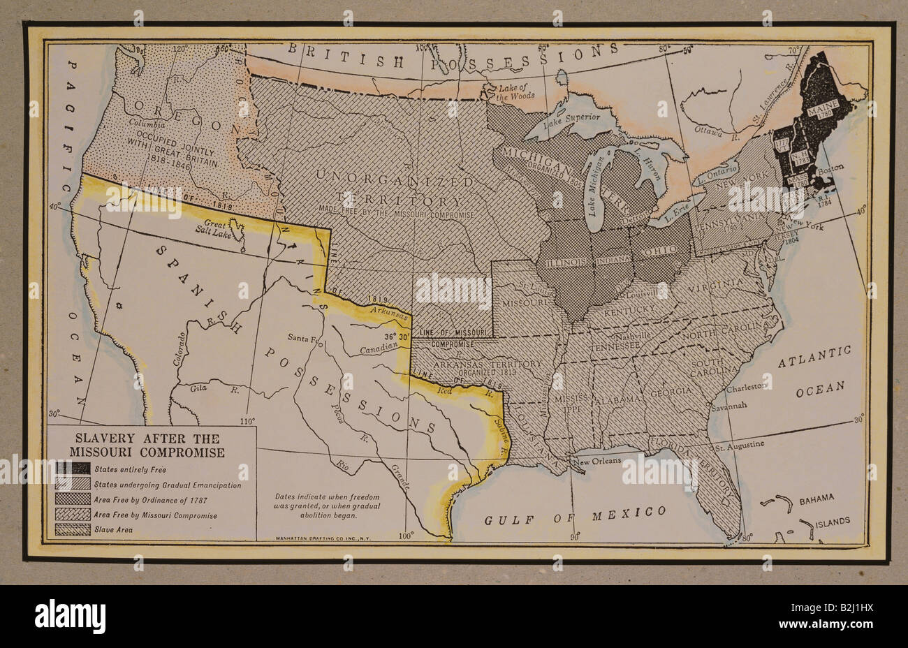 cartography  map  North America  USA  spreading of slavery after     cartography  map  North America  USA  spreading of slavery after Missouri  compromise  1820   map from  America  its People and