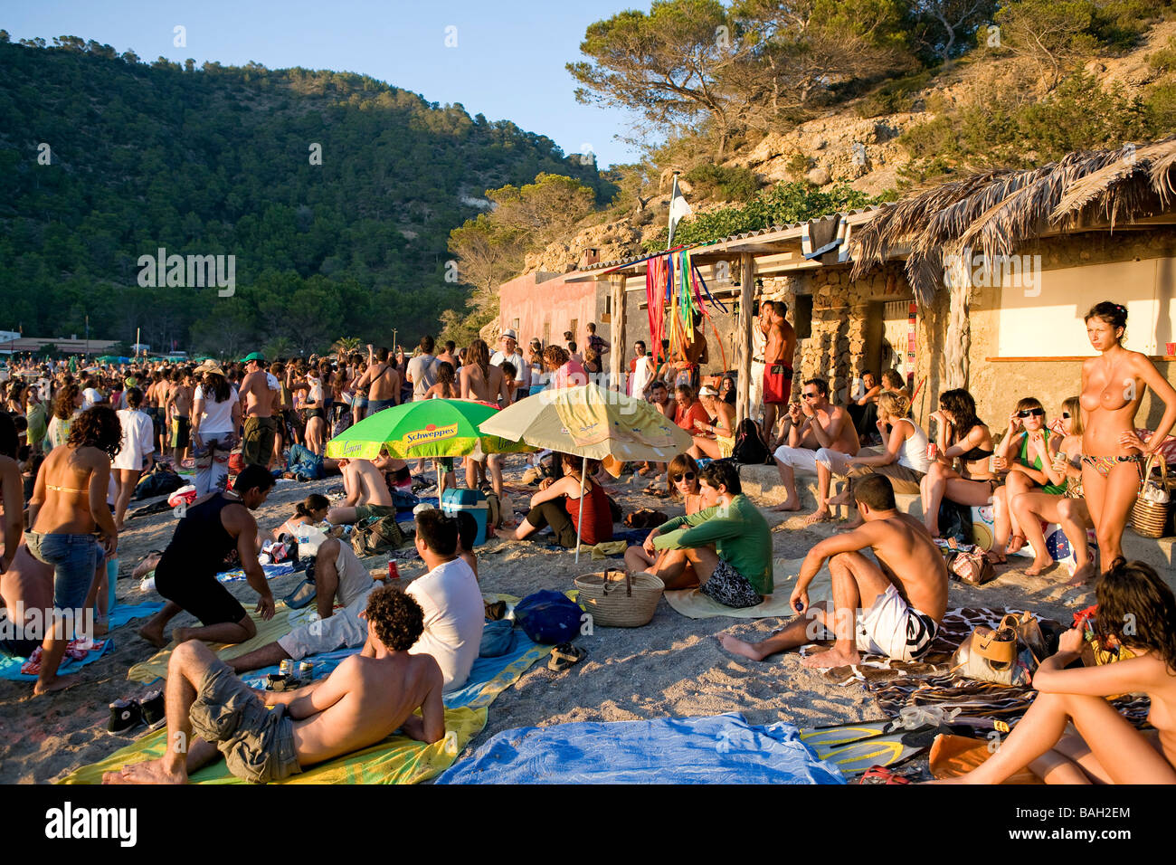 Benniras Beach Stock Photos   Benniras Beach Stock Images   Alamy Spain  Balearic Islands  Ibiza island  Benniras beach  during summer  drum  concerts