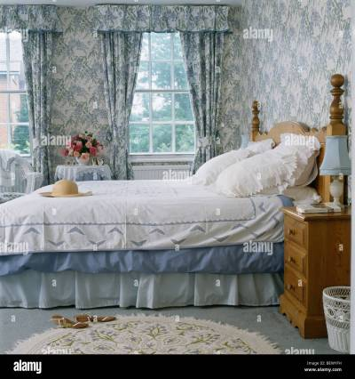 Blue+white wallpaper and matching curtains in traditional country Stock Photo, Royalty Free ...