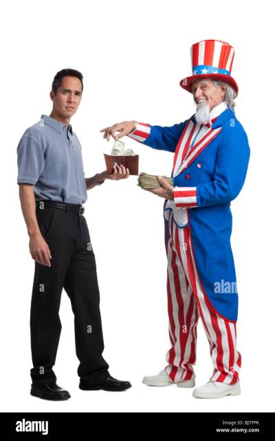 Man in Uncle Sam's costume taking money from other man, studio shot Stock Photo: 28813419 - Alamy