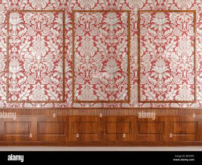 Interior scene of classic red wallpaper and wood molding wall with Stock Photo: 30789191 - Alamy