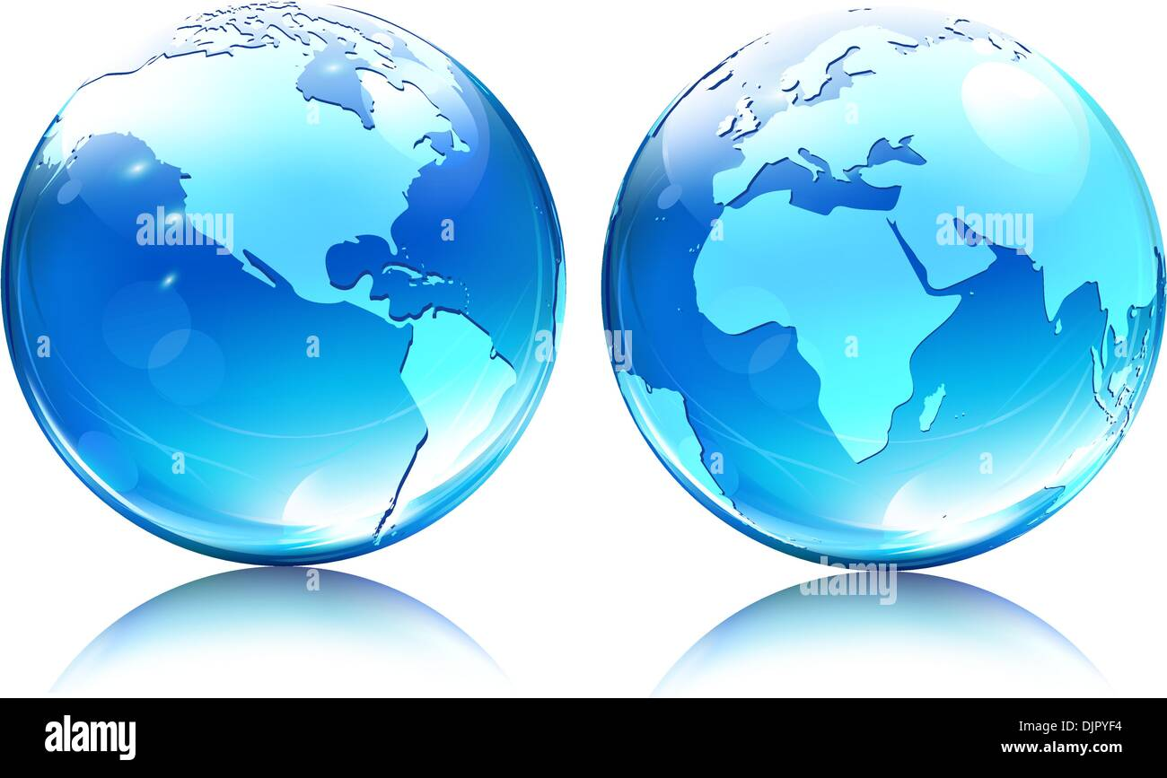 Glowing Translucent World Map Globes Stock Photos   Glowing     Vector illustration of blue Glossy Earth Map Globes different angles    Stock Image