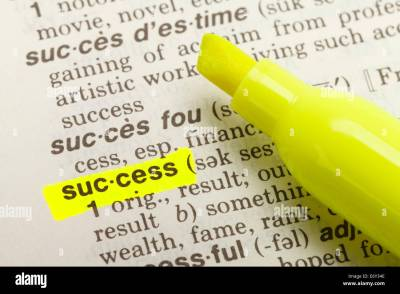 The Word Success Highlighted In Dictionary With Yellow ...