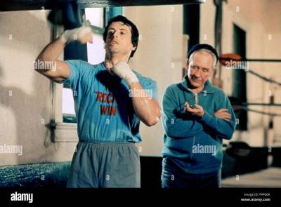 Sylvester Stallone and Burgess Meredith / Rocky / 1976 directed by Stock Photo, Royalty Free ...