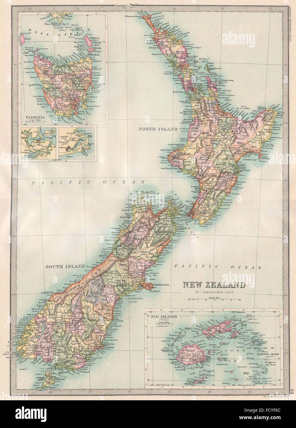 NEW ZEALAND  inset Tasmania   Fiji Islands  BARTHOLOMEW  1890     NEW ZEALAND  inset Tasmania   Fiji Islands  BARTHOLOMEW  1890 antique map