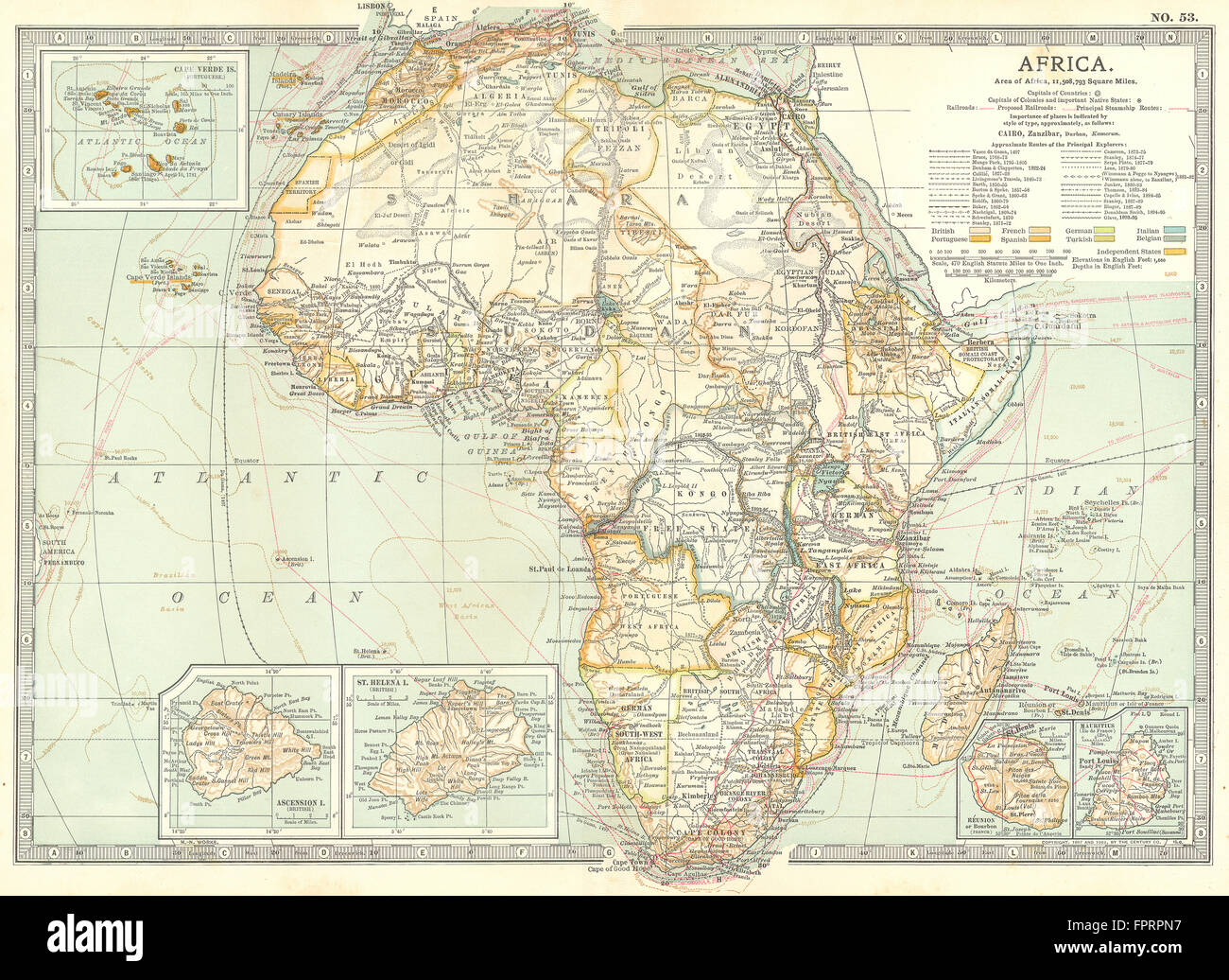 AFRICA  Cape Verde  Mauritius  Reunion  Ascension  St Helena islands     AFRICA  Cape Verde  Mauritius  Reunion  Ascension  St Helena islands  1903  map