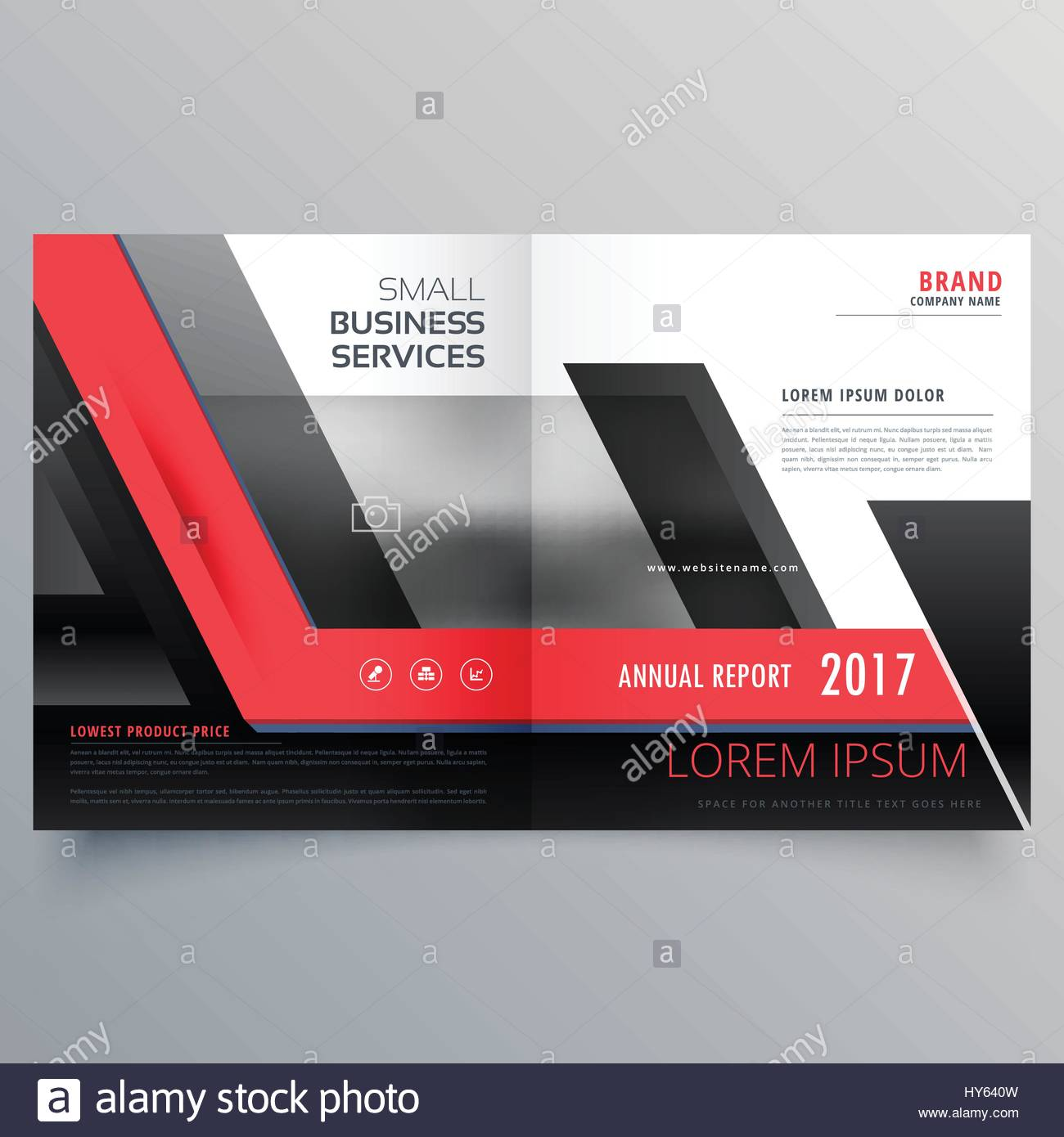 red and black bifold creative brochure design template Stock Vector     red and black bifold creative brochure design template