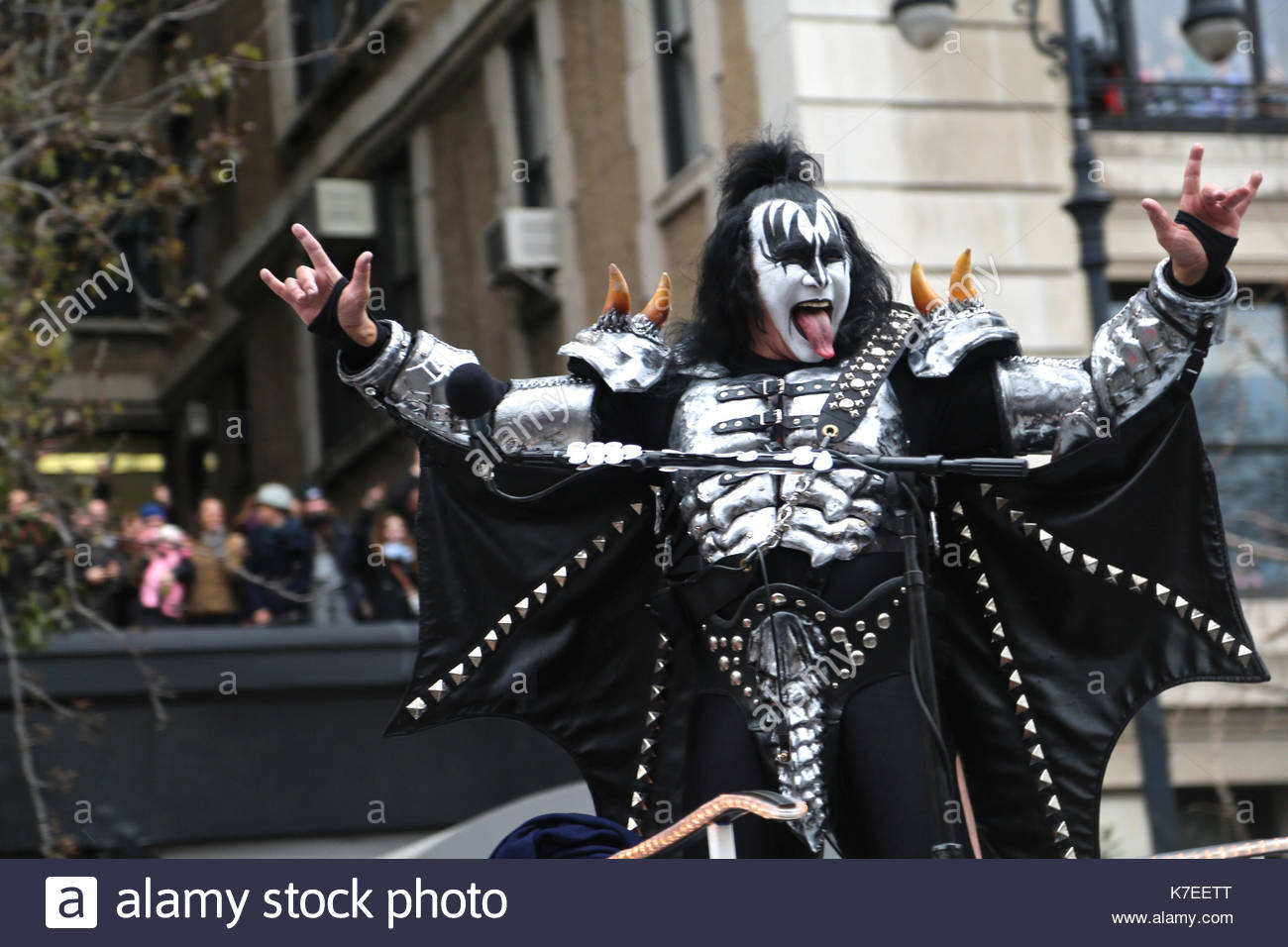 Gene Simmons of KISS  KISS band members rock down Central Park West     Gene Simmons of KISS  KISS band members rock down Central Park West at the  Macy s Thanksgiving Day Parade in New York City on November 27  2014