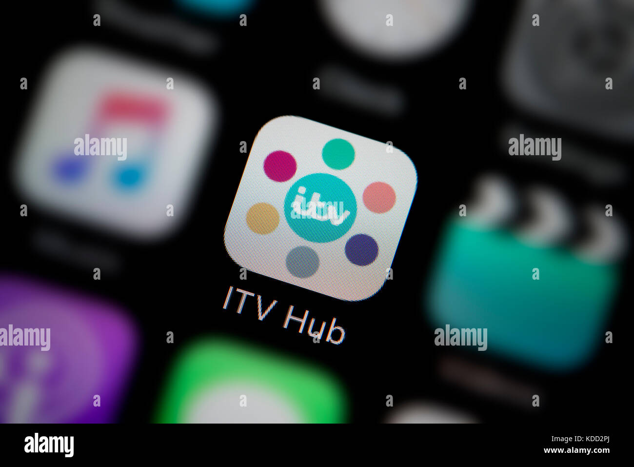 A close up shot of the logo representing ITV Hub app icon  as seen     A close up shot of the logo representing ITV Hub app icon  as seen on the  screen of a smart phone  Editorial use only