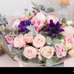 Beautiful Luxury Bouquet of Mixed Flowers on Pink Table the Work Of