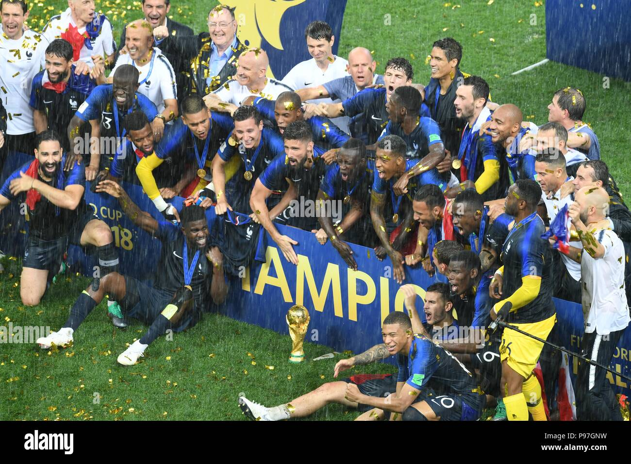 Moscow  Russia  July 15th  2018  France national football team     July 15th  2018  France national football team celebrate their victory of  world cup 2018 Final at Luzhniki stadium  Moscow  Shoja Lak Alamy Live News