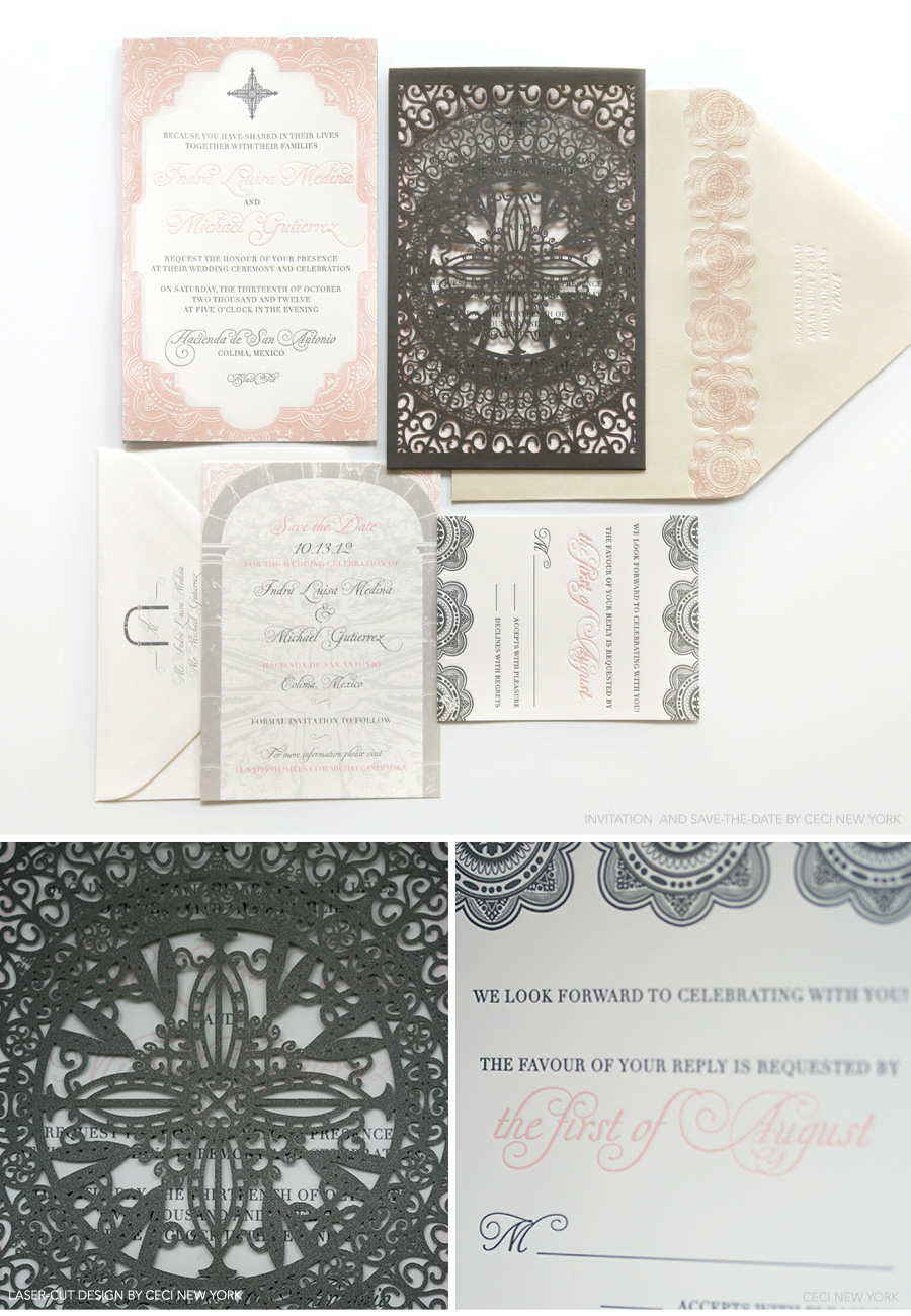 v our muse dreamy mexican wedding indra michael part 1 wedding invitations michaels Luxury Wedding Invitations by Ceci New York Our Muse Dreamy Mexican Wedding Be