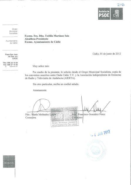 Documento de uno de los requerimiento del PSOE para obtener información sobre los acuerdos con Aierta