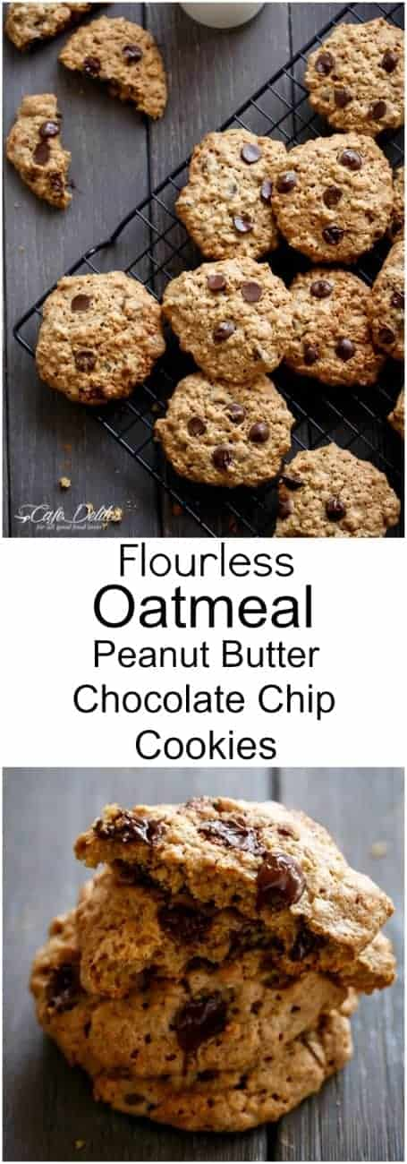 Flourless Oatmeal Peanut Butter Chocolate Chip Cookies - Cafe Delites