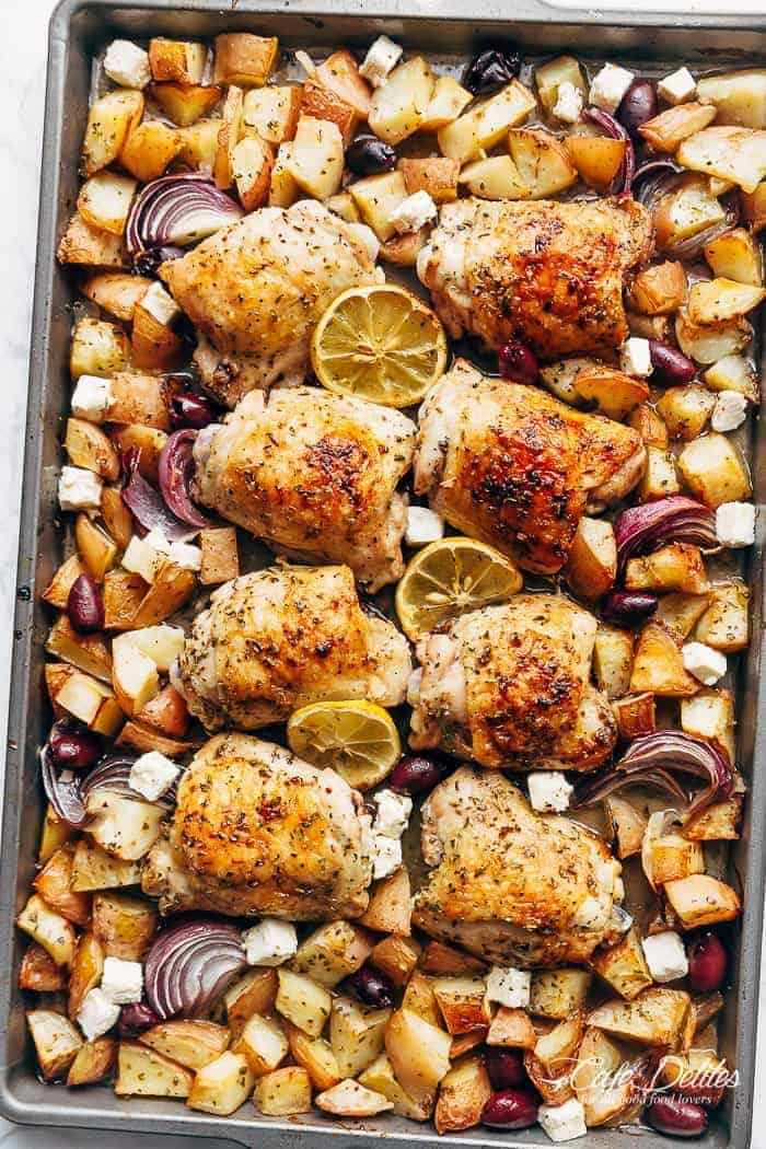 Greek Chicken + Potatoes (One Pan) | http://cafedelites.com