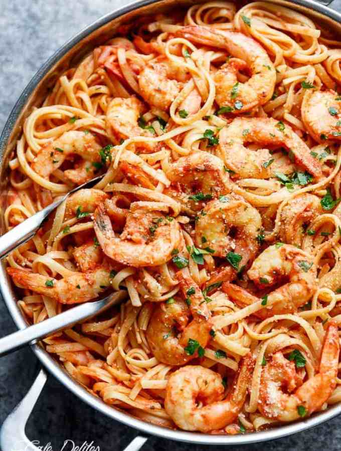 Pasta gets a delicious make over with this 15-Minute Creamy Tomato Garlic Butter Shrimp! A quick and easy flavourful dinner in minutes!   http://cafedelites.com