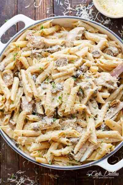 One-Pot Creamy Mushroom Chicken Pasta (Lightened Up) - Cafe Delites