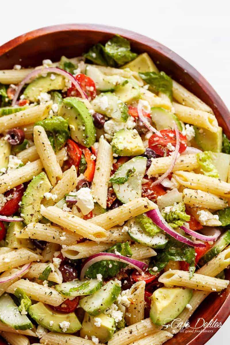 Mediterranean Salad With Creamy Herb Dressing