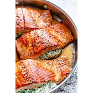 Swish Salmon Pink What Goes Good Salmon Asparagus Garlic Butter Cafe Delites What Goes Good Creamy Spinach Stuffed Salmon