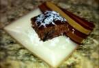 a slice of chocolate berry cake