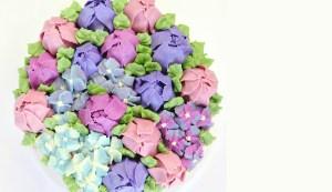 Tulip and Hydranga Buttercream Cake
