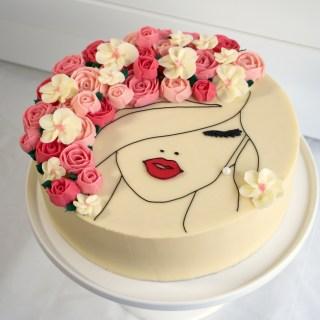 Floral Face Cake side