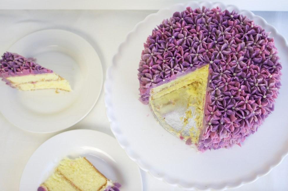 Lilac Buttercream Cake slices