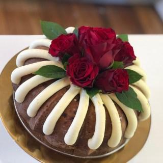 White choc & rasp bundt cake