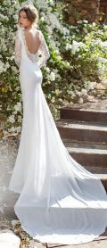 Open back + Long sleeves wedding dress