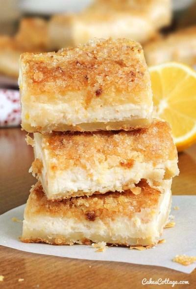 Easy Lemon Cream Cheese Bars - Cakescottage