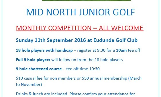 Mid North Junior Golf at Eudunda 11th Sept 2016 Flier