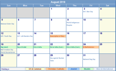 August 2018 US Calendar with Holidays for printing (image format)