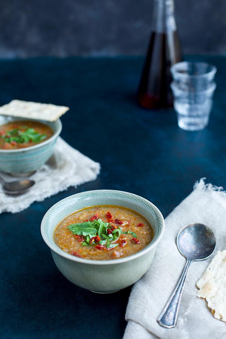 Red Lentil Sun-Dried Tomato Arugula Pesto Soup