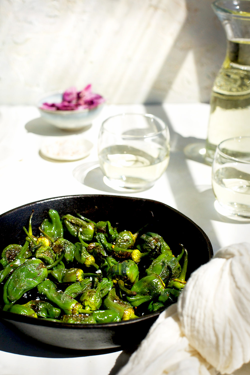 Roasted Padron Peppers with Mandarin Maldon Salt