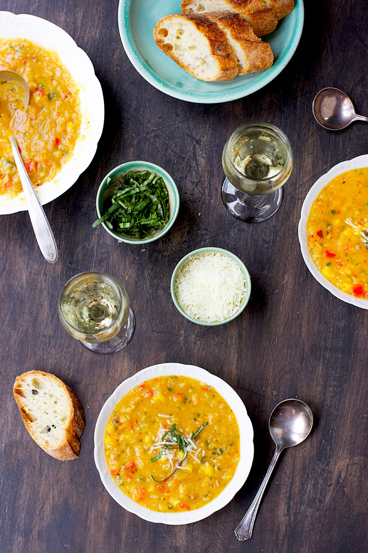 Yellow-Split-Pea-Basil-Soup-with-Roasted-Red-Peppers